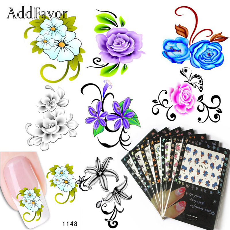 Addfavor 7pcs Water Transfer Nail Art Sticker Decal Foil Fingernail Tip Flower Nail Stickers Decals Nail Decoration Tools 1 sheet beautiful nail water transfer stickers flower art decal decoration manicure tip design diy nail art accessories xf1408