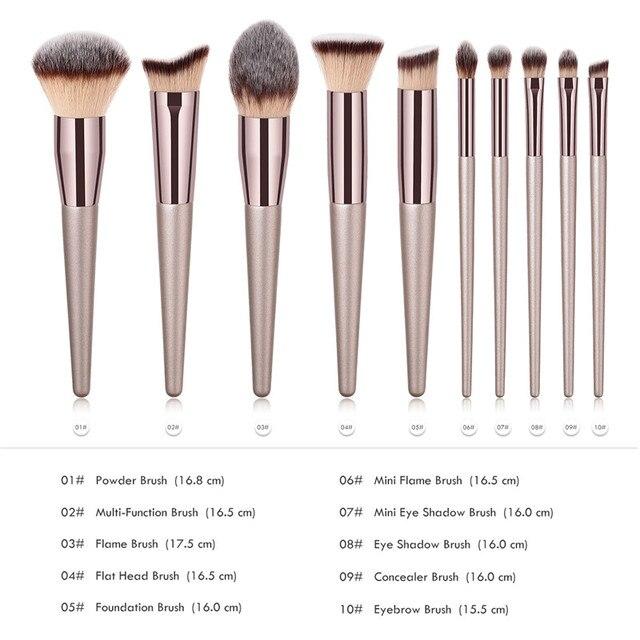 10pcs Makeup Brushes Set professional Foundation Powder Eyeshadow Blending Eyebrow kabuki cosmetic brush Tool 3