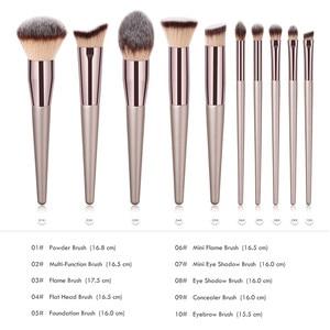 Image 3 - 10 makyaj fırçası seti profesyonel vakfı pudra göz farı karıştırma kaş kabuki kozmetik fırça aracı