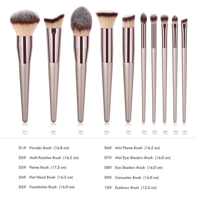 10pcs Makeup Brushes Set professional Foundation Powder Eyeshadow Blending Eyebrow kabuki cosmetic brush Tool 2