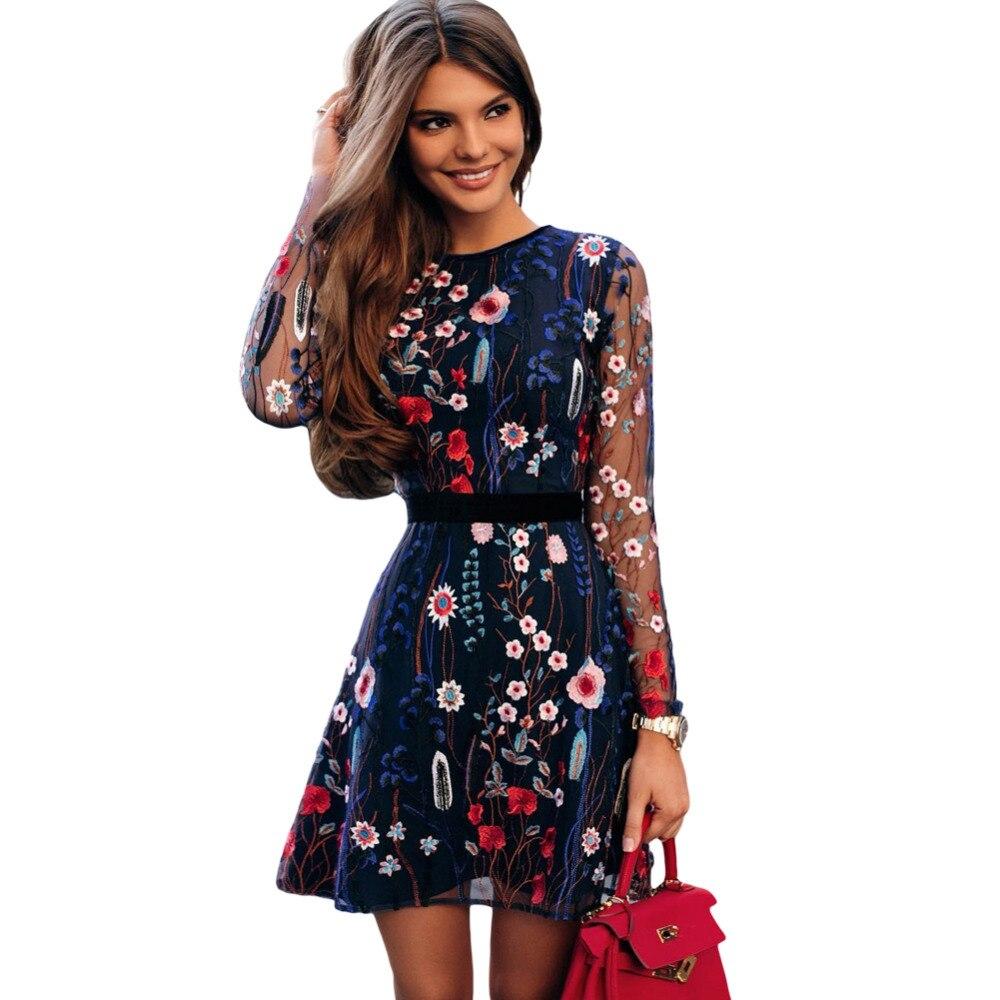 Sexy Floral De las mujeres, vestido bordado De malla transparente De verano Boho Mini vestido De ver a través De vestido negro 2018 Vestidos De festa
