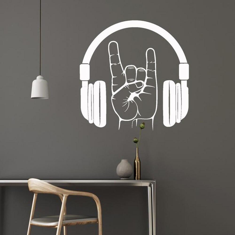 Ecouteurs Sticker Mural Vinyle Art Design Rock Musique Musicale Chambre Decoration Ado Salon Mural Ornement Papier Peint W502