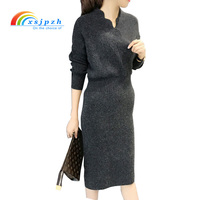 XSJPZH 2017 New Autumn Winter Women Sweater Dress Bodycon Slim Bottom Dress Ladies Elastic Thicken Pencil