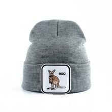 Новые модные повседневные шапочки для мужчин и женщин, теплая вязаная зимняя шапка с вышивкой, Мультяшные бейсболки с животными, хип-хоп, Skullies Bone Garros