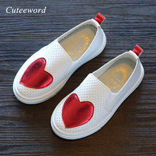 Hot sale lisure boys and girls children shoes 2019 fashion love hollow slip on kids casual breathable flats sports