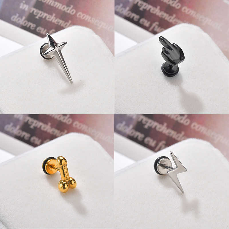 Charm Dick Penis Star Body Jewelries Rock Lip Piercing Jewelry Men Hip Hop Labret For Women Metal Gold Silver Black Xmas Gifts