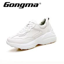 reputable site d3202 89e8e Gongma Branco Tênis de corrida para As Mulheres De Couro Das Sapatilhas De  Borracha Sapata Do