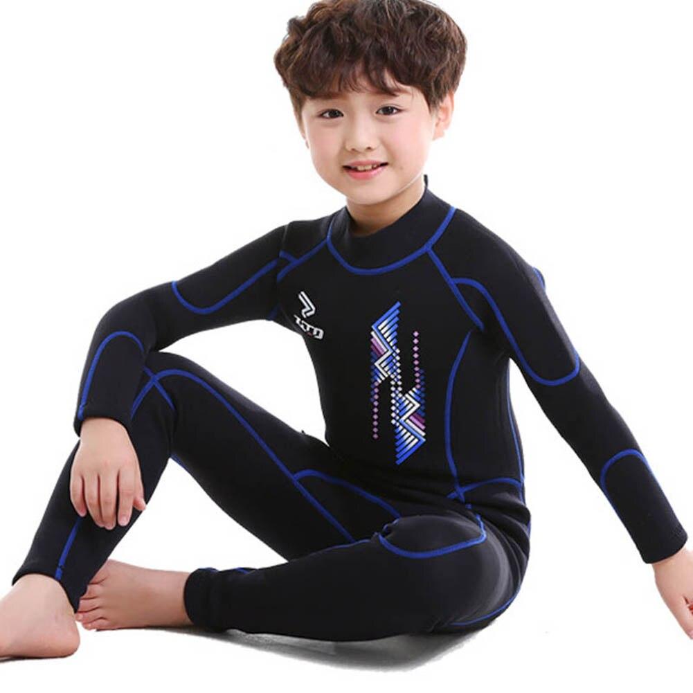 """Детские гидрокостюмы для мальчиков и девочек с надписью """"УФ-защита молния сзади Молодежный костюм для дайвинга из неопрена купальный костюм BB55 - Цвет: Blue"""