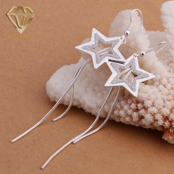 Southwest Jewelry Popular Star Shaped with Double Lines Pendant Silver Plated Long Dangle Earrings for Women Party