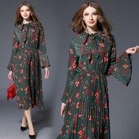 Women Spring & Autumn Vintage Pleated Dress Shirt Female Bohemian Style Print Vestidos Retro Robe Femme Sweet Long Maxi Clothing