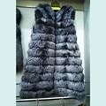 Besty women real silver fox fur vest extra-long waistcoat cute stripe spell fox fur gilt slim warmer winter autumn real fur coat
