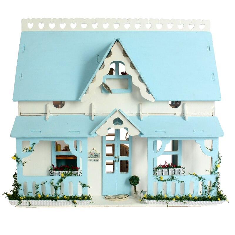 Home Decoration Crafts DIY Doll House Wooden Doll Houses Miniature DIY dollhouse Furniture Kit Villa LED