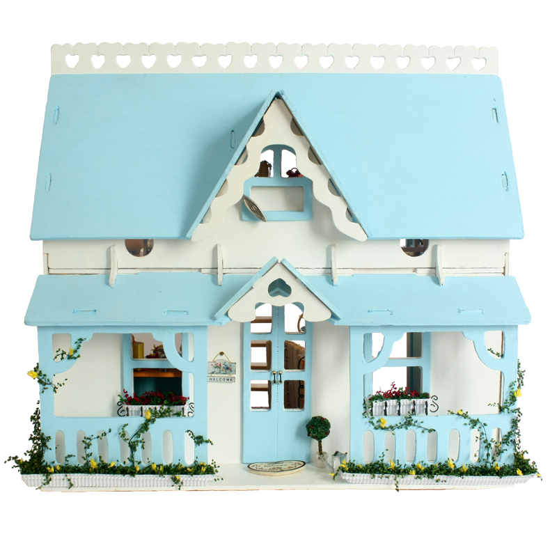 Home Decoration Crafts DIY Doll House Wooden Doll Houses Miniature DIY dollhouse Furniture Kit Villa LED Lights Gift X-009 3pcs flying doll house miniature dollhouse glass diy mini home ball hand housing with led lights wholesale