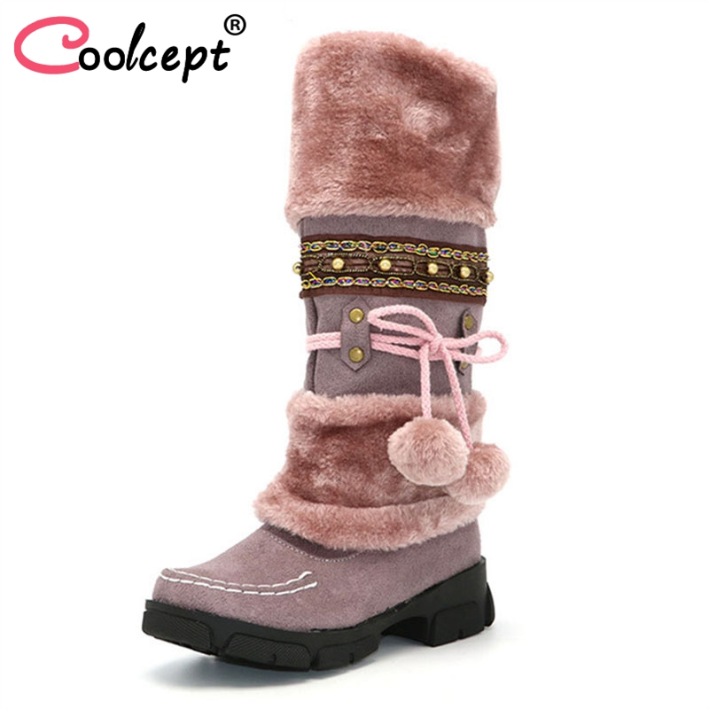 Coolcept Winter Warm Thickened Fur Over Knee High Heel Boots Women Shoes Fashion Sexy Botas Long Woman Footwear AH053 size 35-40 coolcept size 30 47 women square high heel over knee boots snow long boot warm winter brand botas footwear heels shoes p20222