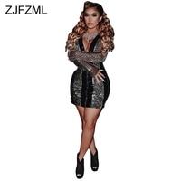 Shiny Silver Sequins Sexy Velvet Dress Women Black Sheer Lace Patchwork See Through Dress V Neck Long Sleeve Zipper Velour Dress