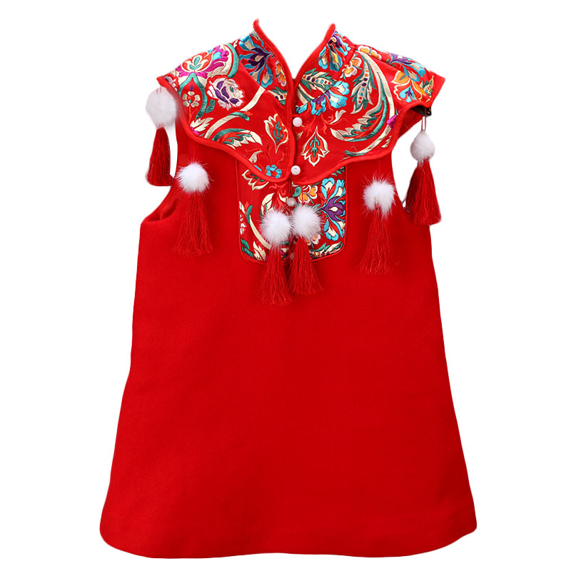 chinese style red color cheongsam   flower     girl     dress     Girl     Dress   Lace First Communion   Dress