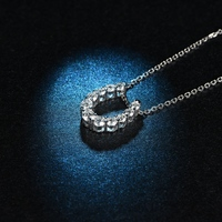 L & Цзуань Новый U Форма 0.51ct diamond Подвески для Для женщин 18 К платины Ожерелья для мужчин подарок на день Святого Валентина Свадебная Ювелирны