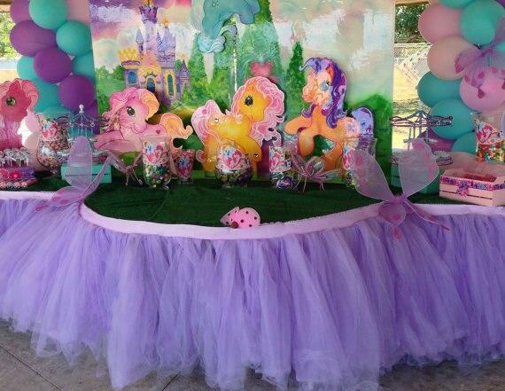Paarse kleur tule tutu tafel rok prinses verjaardagsfeestje taart tafel accessoires roze voor - Tafel roze kind ...