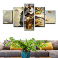 5 Piece HD Picture DOTA2 Video Game Poster Wall Sticker Lina Paintings Artwork Framework Canvas Art for Home Decor