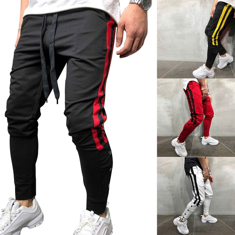 Casual Trousers Track-Pants Street-Wear Hip-Hop Elastic-Waist Skinny Side-Stripe Male