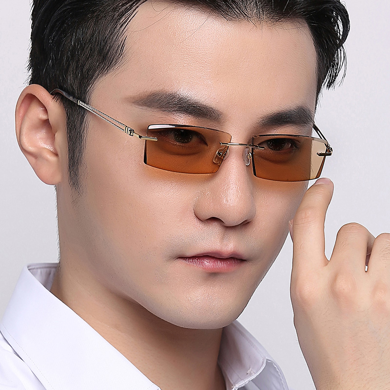 Vazrobe Rimless Photochromic Glasses Men Chameleon Sunglasses (clear to Grey/brown) Discolor Eyeglasses Driving Fashion Man