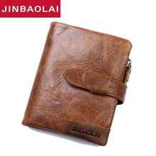 Bifold Leather Wallet ID Card Holder Fashion Genuine Leather Wallet Portomonee Zipper Coin Purse Hasp Short Wallet For Men Gift