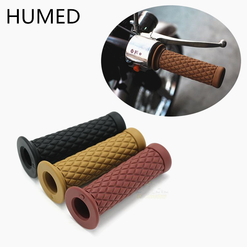 Universal 7/8'' 22MM Vintage Rubber Motorcycle Handle Grips  Coffee Motorbike Handlebar Grips  9 Colors Available