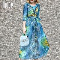 Women Summer Luxury Beading Decor Silk Chiffon Dress Ruched Waist Ruffle Sleeve Blue Floral Long Holiday
