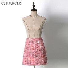 Fashionable Korean Style Pink Tweed Skirt 2018 New Autumn Bodycon Mini For Women Elegant High Waist Short Office Skirts