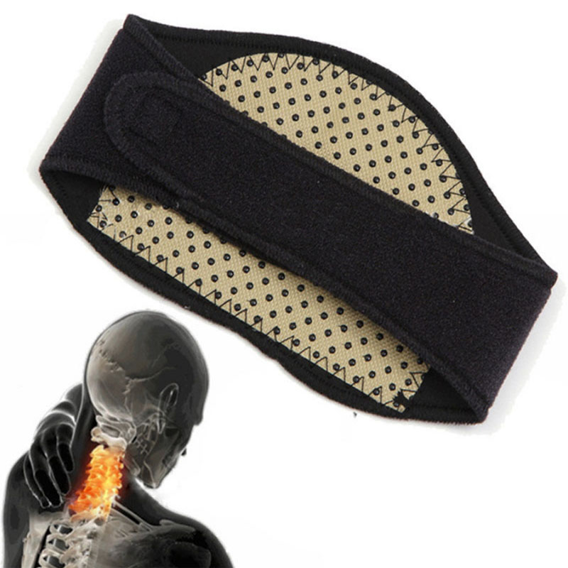 Fashion New 1PC Acupuncture Points Neck Heat Therapy Support Belt Black Magnetic Protection Neck Pain Relief Wrap Belt