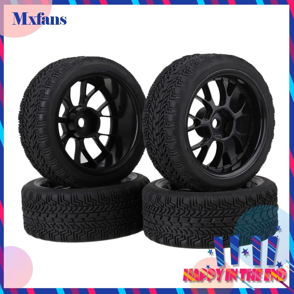 Mxfans 4 x RC1:10 On Road Car High Grip Rubber Tyre & Black Plastic Y Type Wheel Rim mxfans 4x black rc 1 10 on road car rubber fish scale tyre