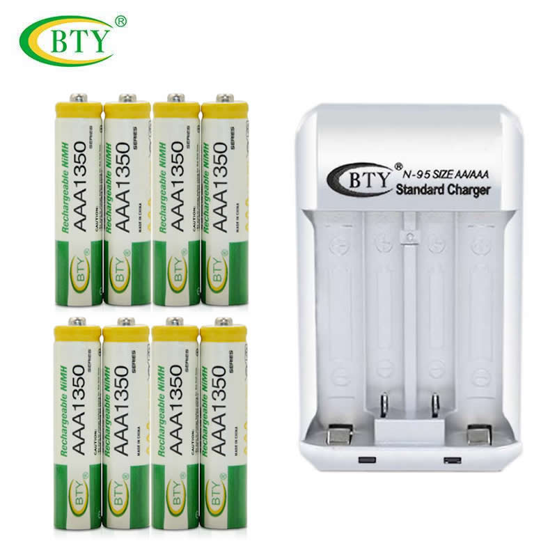 8PCS Original BTY AAA 1350 Rechargeable Ni-MH Battery + 1PCS Original N-95 Battery Charger for LED Flashlight/Toy/PDA