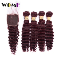 Wome Brazilian Human Hair Weave With Closure #99J Red Wine Color Deep Wave 4 Bundles With Lace Closure Free Part Curly Hair