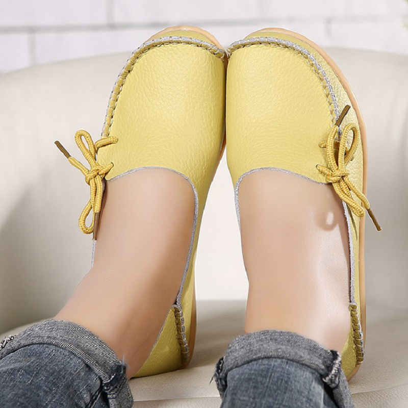 Women Flats 2019 Summer Women Slipony Genuine Leather Shoes Slip On Ballet Bowtie  Moccasins Ballet Flats Woman Shoes 24 Colors
