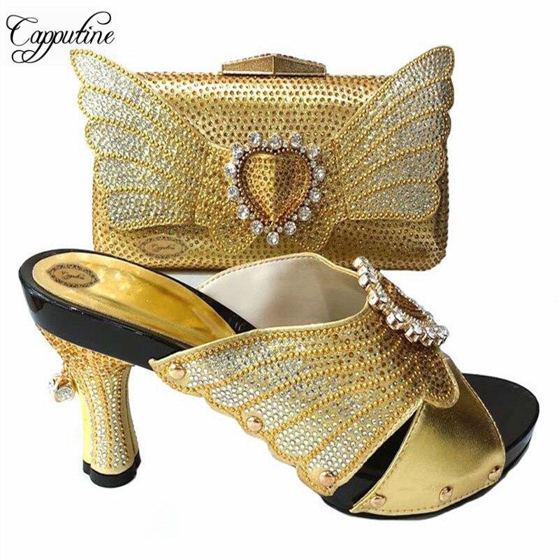 2018 nueva moda elegante Sandalia de las mujeres zapatos y bolso italiano  zapatilla zapatos con los 0d48ff982592