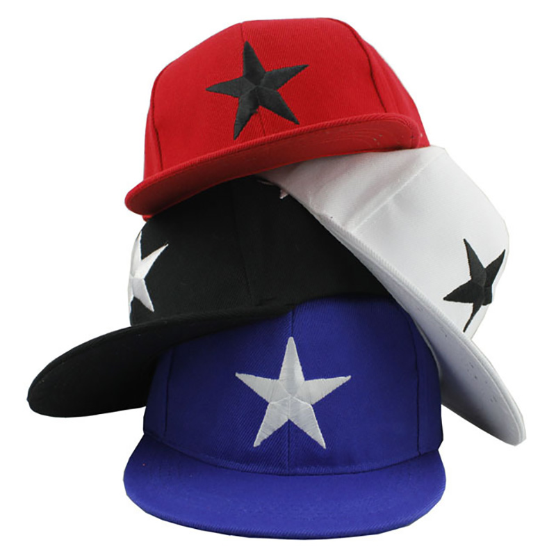 Boys Girls Children Hip Hop Caps Hats Child Adjustable Sun Protection Fashion Five-pointed Star Embroidery Holiday Travel Hat