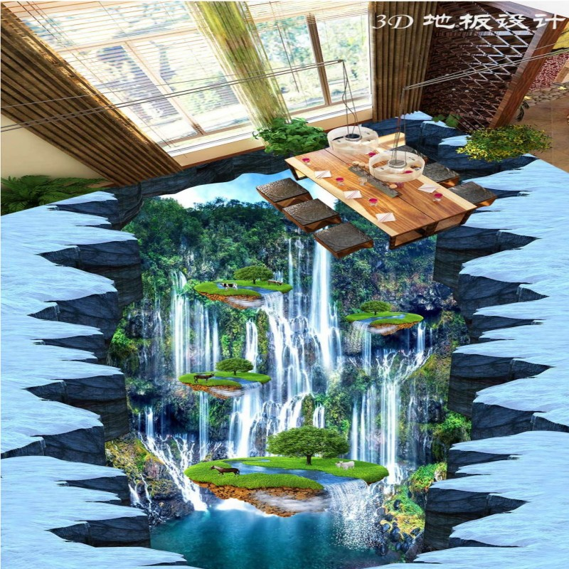 Free Shipping PVC wear floor mural 3D waterfall bookstore shopping mall floor painting wallpaper