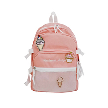 6PCS / LOT Letters Embroidery Backpack Girls High Capacity School Book Bag Ice Cream Applique Mesh Trave