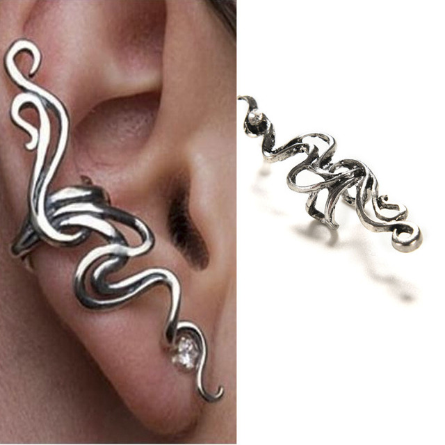 NEW 1 Pc Metal Earring Cuff Clip Wrap Rhinestone Lure Earrings Gothic Punk Rock Gift Stud Ear Cuffs Accessories Silver Plated