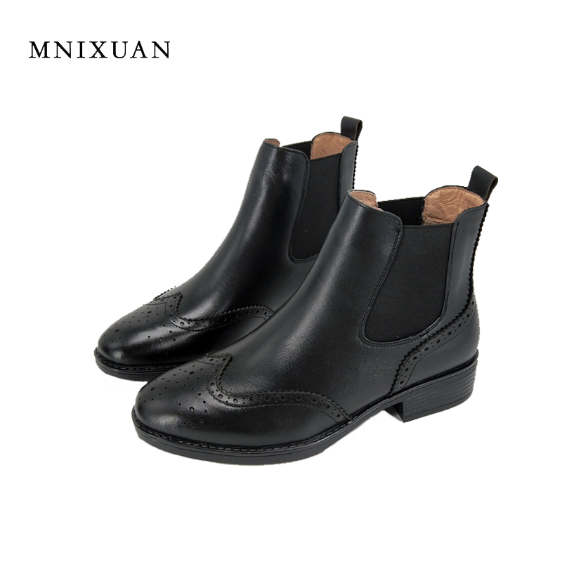 Ankle boots for women 2017 winter new fashion genuine leather short black elastic band chelsea boots block medium heels big size elastic band women genuine leather ankle boots chelsea hand made shoes motorcycle coincise fashion black matte women s boots