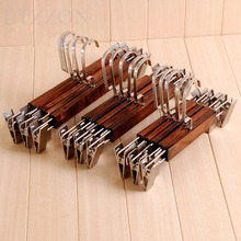1PC Vintage Wooden Clothes Hanger Men's Children Women's Metal Hook Trousers Rack For Suit Pants