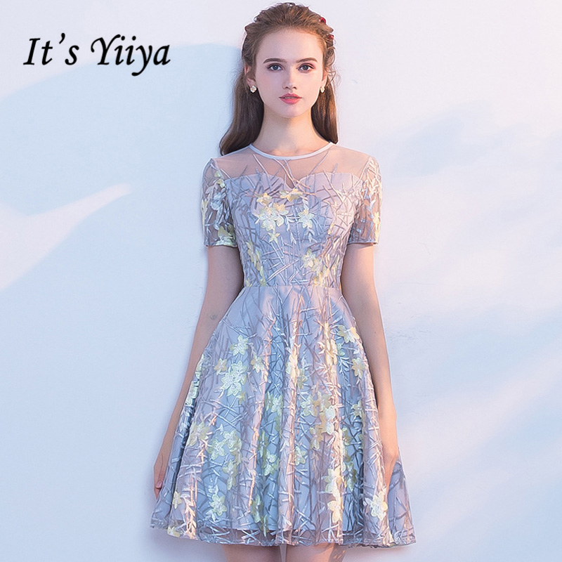 It's YiiYa Short Sleeve Fashion Designer Lace Illusion Flowers Pattern Elegant   Cocktail   Gowns   Cocktail     Dress   LX340