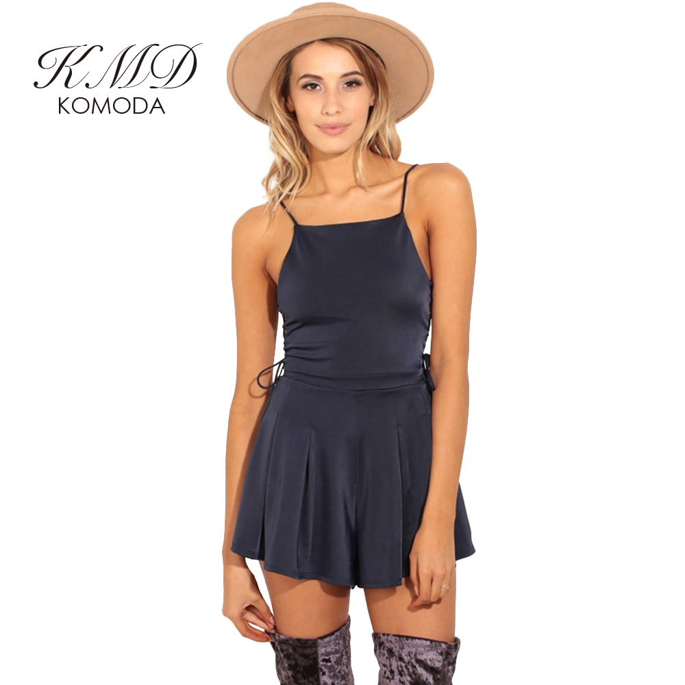 KOMODA Store KMD KOMODA Sexy Off Shoulder Strap Women Playsuit Lace Up Hollow Out Romper Backless Solid Brief Female Summer Playsuit