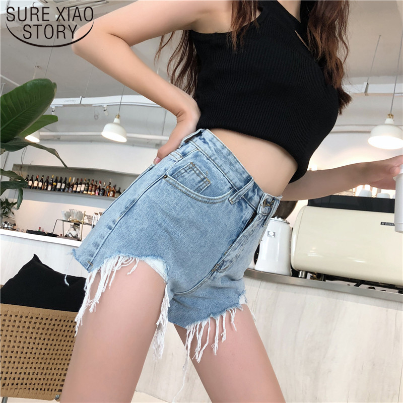 2019 Women Sexy Lady Hot  Blue Shorts New Summer High Waist A-shaped Irregular Loose-legged Women Jeans Shorts  3663 50