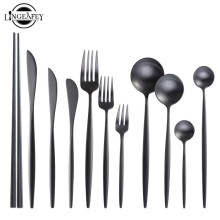 Матовый черный набор столовых приборов из нержавеющей стали столовые приборы набор кухонного серебра стейк Посуда столовая посуда ложка Вилка Нож палочки для еды