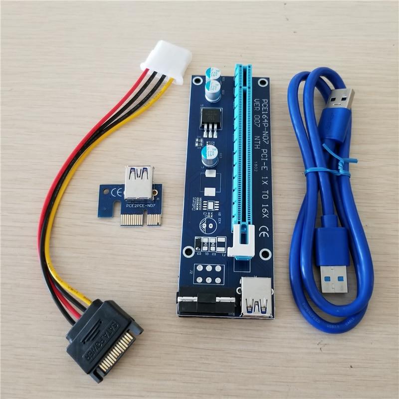 10 ensemble/lot PCIe PCI-E PCI Express Riser carte 1x à 16x USB 3.0 câble de données SATA à 4Pin IDE Molex alimentation pour BTC Miner Machi