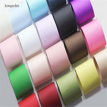 Kewgarden 25mm 1 Solid Color Grosgrain Ribbons DIY Bowknot Satin Ribbon Handmade Tape Double Face Riband 20m/lot