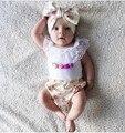 2016 летние дети воланами пуловер одежда для Новорожденных девочек устанавливает кружева футболка + pp шорты девочка Комплект Одежды цветочные 2 шт. пижамы