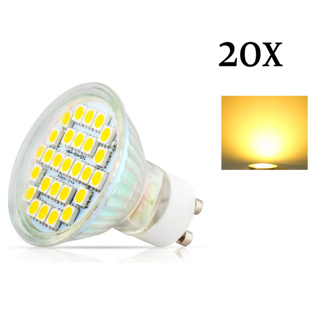 20X GU10 3.5W 27pcs 5050 SMD Led Spotlights Lamp AC220V 240V Warm White / Cool White Led Bulbs Light for home Lampada lamp - 2