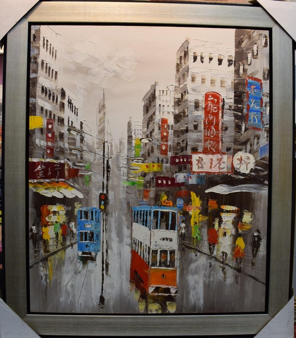 100% Əl Boyalı Bıçaq Yağlı Rəsm, Kətan Abstract Hong Kong - Ev dekoru - Fotoqrafiya 2